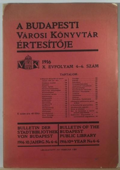 - A Budapesti Városi Könyvtár értesítője 1916