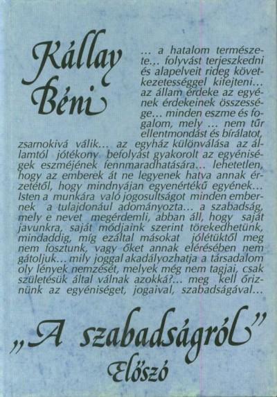 Kállay Béni - A szabadságról - Előszó