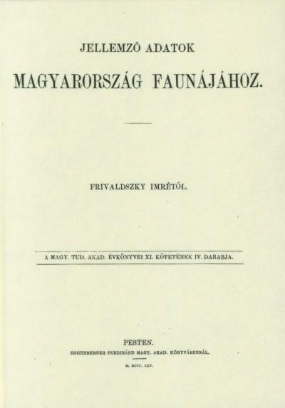 Frivaldszky Imre - Jellemző adatok Magyarország faunájához