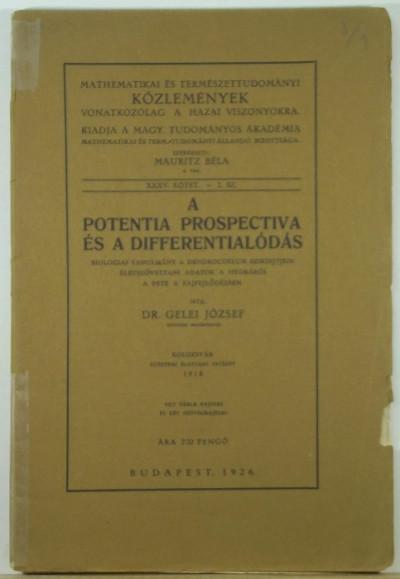 Gelei József - A potentia prospectiva és a differentialódás