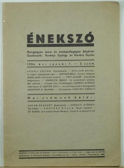 Kerényi György  (Szerk.) - Kertész Gyula  (Szerk.) - Énekszó 1934. január 1.