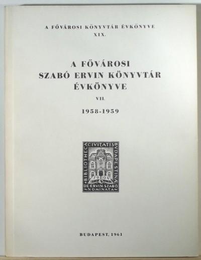 - A Fővárosi Szabó Ervin Könyvtár évkönyve 1958-1959