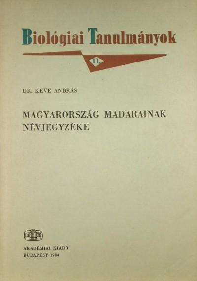 Keve András - Magyarország madarainak névjegyzéke