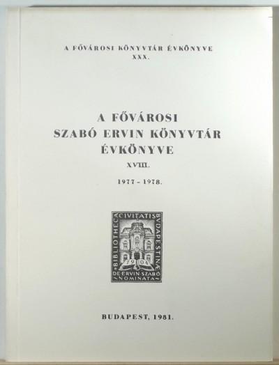 - A Fővárosi Szabó Ervin Könyvtár évkönyve 1977-1978