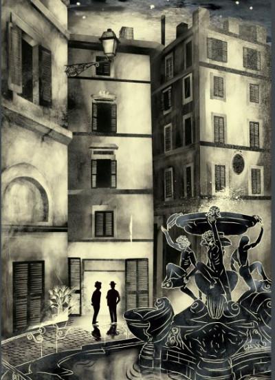 - Képeslap - Utas és holdvilág - Trastevere